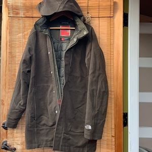 North Face jacket hood wool heavy insulated warm